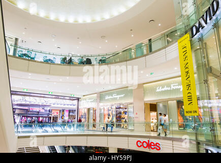 Interior of a modern shopping mall: Queen's Plaza Shopping Centre, Queen Street Mall, Brisbane, Queensland, - Stock Image