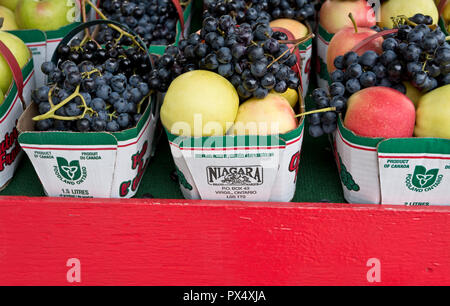 Baskets of apples and grapes for sale at a local farm stand in the Niagara Peninsula, Ontario, Canada. - Stock Image