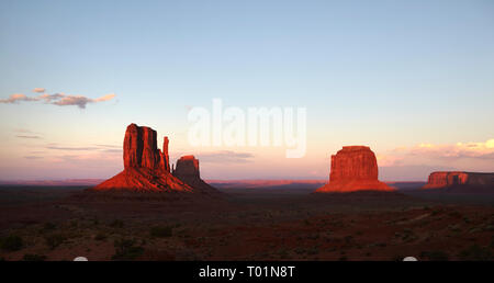 Sunset at The Mittens, Monument Valley, Arizona, USA - Stock Image