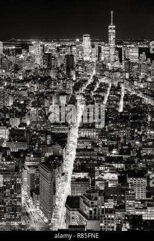 Aerial view of Midtown, Lower Manhattan and Fifth Avenue by night in Black & White. New York City, USA - Stock Image