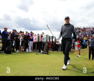 19th July, Portrush, Country Antrim, Northern Ireland; The 148th Open Golf Championship, Royal Portrush, Round Two ; Jordan Spieth (USA) walks from the tee of the 13th hole - Stock Image