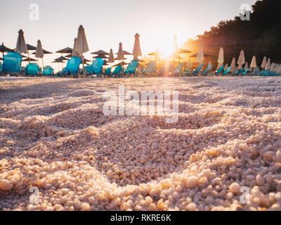 White marble sand detail at Porto Vathy Marble Beach on the Island of Thasos, Greece - Stock Image