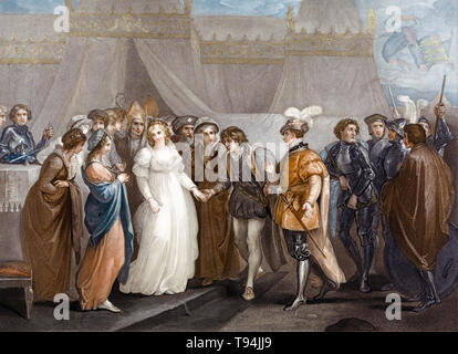 Catherine of France (Catherine of Valois) presented to Henry V of England, at the treaty of Troyes, 1799 - Stock Image