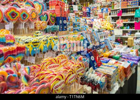 Sweet shop interior, Gdansk, Poland - Stock Image