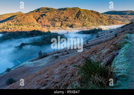 Low mist running through Banneriggs, between Grasmere and Rydal Water, near Grasmere, Lake District, Cumbria - Stock Image