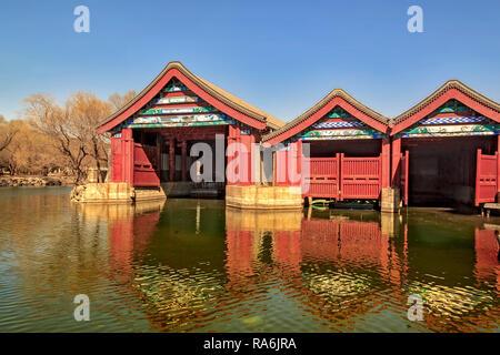 Boathouse At Summer Palace Beijing China - Stock Image