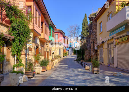 Antalya old town street with typical architecture. Antalya, Turkey - - Stock Image
