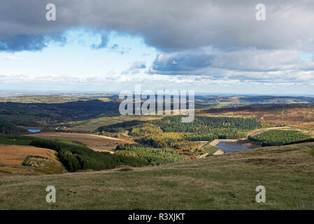 View across the Holme Valley from Holme Moss, West Yorkshire, England UK - Stock Image