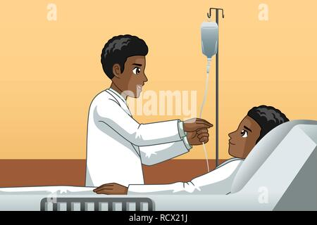A vector illustration of African Doctor With a Patient - Stock Image