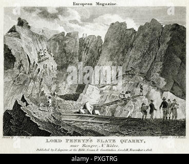 Lord Penryn's slate quarry, near Bangor, North Wales.       Date: 1808 - Stock Image