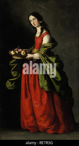 Painting of Saint Dorothy Santa Dorothea by Francisco de Zurbaran - Stock Image