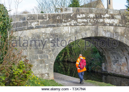 Bolton le Sands, Lancashire, UK. 12th Apr 2019. Stone bridge damaged again within a day of reopening. After months of waiting and a two week road closure to carry out the repairs to a 200 year old stone bridge on St. Michaels Lane over the Lancaster Canal, the road reopened on Thursday afternoon only for the bridge to suffer a repeat of the damage again the next day. A delivery lorry trying to cross the narrow bridge on Friday morning knocked off the recently replaced top stones, with the obvious danger to anyone passing underneath. Credit: Keith Douglas News/Alamy Live News - Stock Image