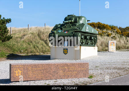 Utah Beach, Normandy, France, March,26, 2019, Sherman Tank  which is part of the 2nd French Armored Division Landings Monument - Stock Image