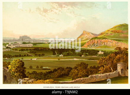 Vintage print of Edinburgh from Craigmillar Castle. - Stock Image