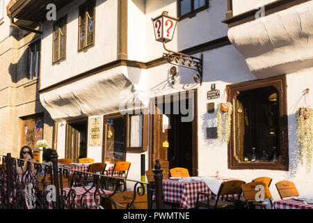 Exterior of the Question Mark restaurant in Belgrade, Serbia. - Stock Image