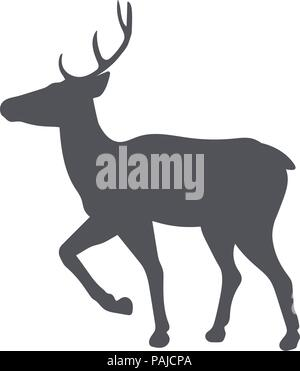 Monochrome emblem of deer. isolated vector illustration - Stock Image