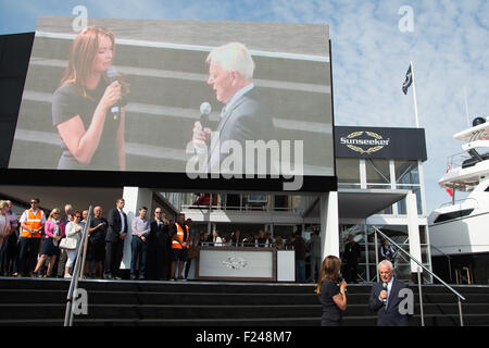 Southampton, UK. 11th September 2015. Southampton Boat Show 2015. Suzy Perry discusses Sunseeker and Forumla One - Stock Image