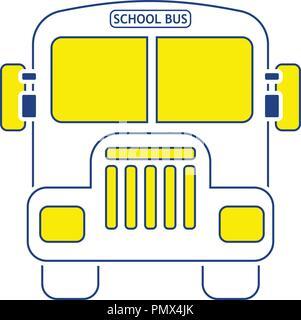 Icon of School bus. Thin line design. Vector illustration. - Stock Image