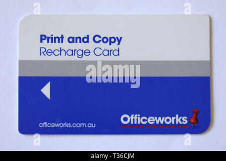 Officeworks recharge card - Stock Image
