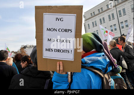 France, Nantes city, demonstration to defend women's right to abortion during the celebration of the 40th anniversary of law authorizing. - Stock Image