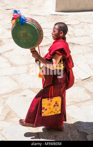 Monks celebrate a Buddhist monastery festival at Korzok, a remote hamlet beside (Lake) Tso Moriri in Ladakh, India - Stock Image
