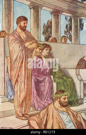 A Greek theatre audience in Ancient times - Stock Image