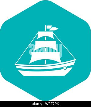 Boat with sails icon, simple style - Stock Image
