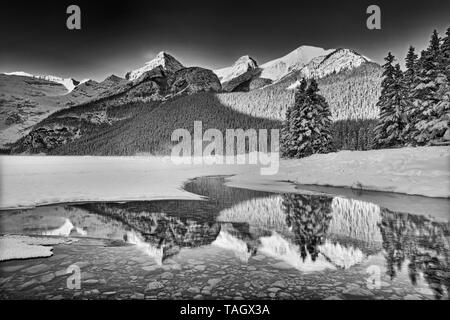The Canadian Rocky Mountains reflected in Lake Louise at sunrise, Banff National Park, Alberta, Canada Banff National Park Alberta Canada - Stock Image