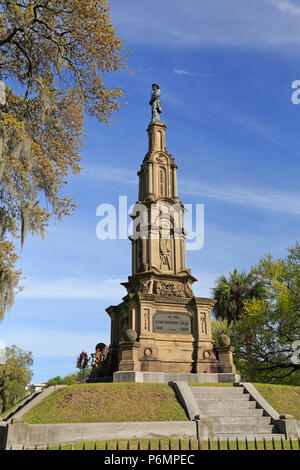 Savannah, Georgia. Forsyth Park Confederate Memorial, now called Civil War Memorial. - Stock Image