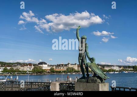 Switzerland Zurich Ganymed statue at riverbank Zurich lake | Schweiz Zuerich See Ganymed Statue - Stock Image