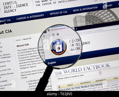 MONTREAL, CANADA - APRIL 24, 2019 : Cia.gov USA Government home page under magnifying glass. Cia.gov is Central Intelligence Agency official web page. - Stock Image