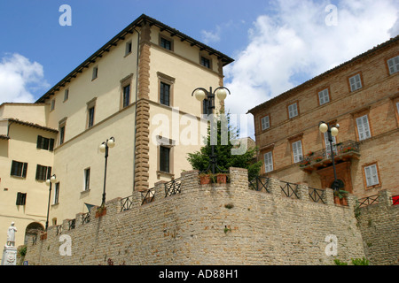 Imposing restored 15th century Palazzo in the main piazza of the charming hilltop town of Monte san Martino in Le Marche Italy - Stock Image