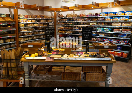A general view of the display of freshly baked artisan bread in Booths Supermarket Ripon North Yorkshire England UK - Stock Image