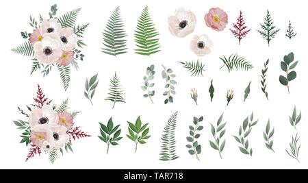 Set of floral branch. Anemones, pink rose, green leaves. Floral poster, invite. Set leaves, flowersbranches herbs and other natural elements - Stock Image