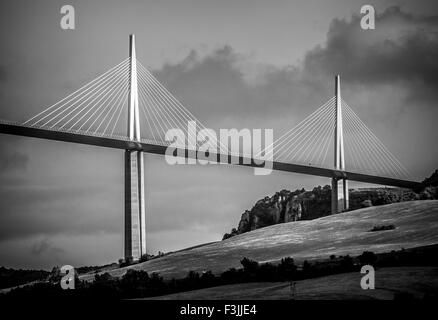 Two towers and the road deck of the Millau Viaduct in Millau, Averyron, France. The highest bridge in the world. - Stock Image