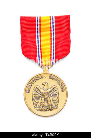 United States Air Force National Defense Medal Cut Out on White. - Stock Image
