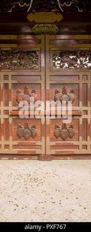 Chokushi-Mon (Gateway of the Imperial Messenger) replica (four-fifths actaul size) of the Karamon of Nishi Hongan-ji Temple in Kyoto, created for Japa - Stock Image