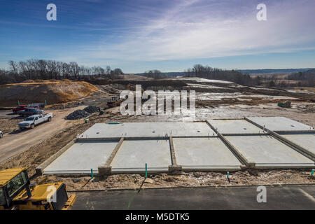 Concrete Foundations For Townhouses Under Construction - Stock Image