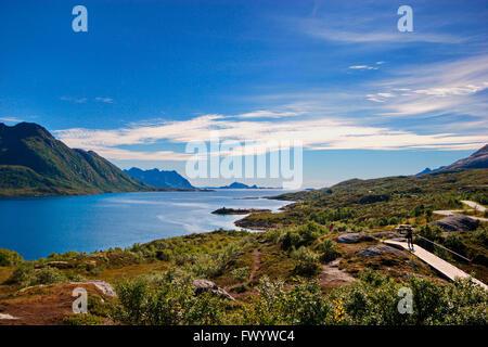 Austnesfjorden on Lofoten in northern Norway. - Stock Image