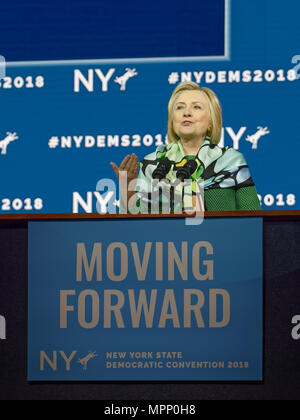 Long Island, USA. 23rd May, 2018. HILLARY CLINTON delivers Keynote Address during Day 1 of New York State Democratic Convention, held at Hofstra University on Long Island. Clinton, the former First Lady and NYS Senator, endorsed the re-election of Gov. A. Cuomo for a third term, and mentioned how Hofstra was the site of her first 2016 debate with Trump. Credit: Ann E Parry/Alamy Live News - Stock Image