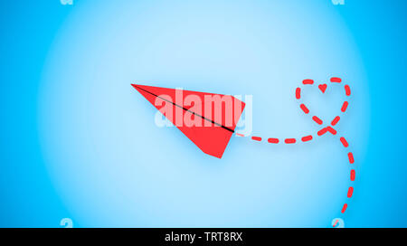 Happy valentines day concept: red paper plane flying on sky looking for love. 3D rendering - Stock Image