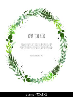Floral vector round frame with branches leaves foliage - Stock Image
