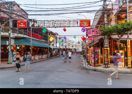 Siem Reap, Cambodia - 14th January 2018: Bars and restaurants on Pub Street. This is a popular street for tourists. - Stock Image