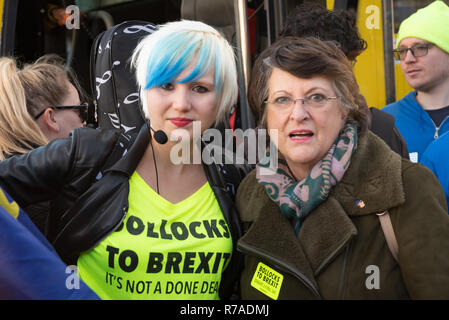 Oxford, UK. 8th December 2018. The Bollocks to Brexit Bus Tour visit to Oxford was greeted by Peoples Vote and Remain anti Brexit campaigners. The aim of the Bollocks to Brexit  campaign was to motivate people to write letters to their MPs demanding a final say, and to become more active in the campaign to stop Brexit. Campaigners marched from Oxford Railway Station to Cornmarket Street in the town centre, where a rally took place. Boris Johnson impersonator Drew Galdon, FauxBoJo, and Madeleina Kay, EU Supergirl, entertained and put over the campaigns message. Credit: Stephen Bell/Alamy Live N - Stock Image