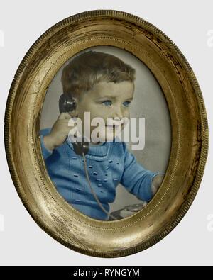 PORTRAIT PHOTOGRAPHY: Little Boy on telephone (1945) - Stock Image