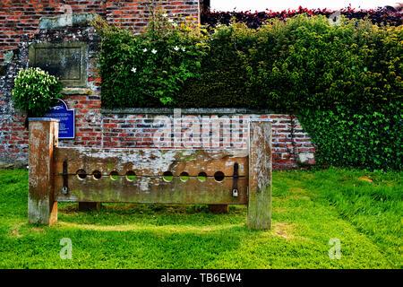 Village Stocks, Aldborough, North Yorkshire, England - Stock Image
