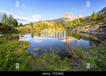 Golden Hour, Reflection, Mountain Lake, Lago Limides, Dolomites, Alps, Italy, Europe - Stock Image