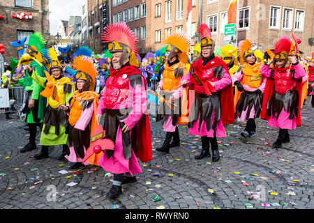 Düsseldorf, Germany. 4 March 2019. LGBT carnival group KG Regenbogen. The annual Rosenmontag (Rose Monday or Shrove Monday) carnival parade takes place in Düsseldorf. - Stock Image