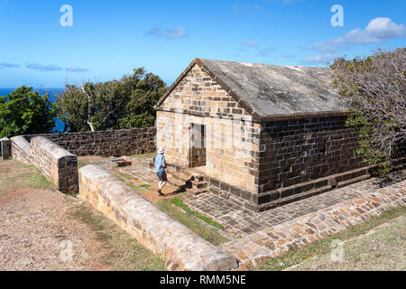 Stone building at Blockhouse ruins, The Nelson's Dockyard National Park, Saint Paul Parish, Antigua, Antigua and Barbuda, Lesser Antilles, Caribbean - Stock Image