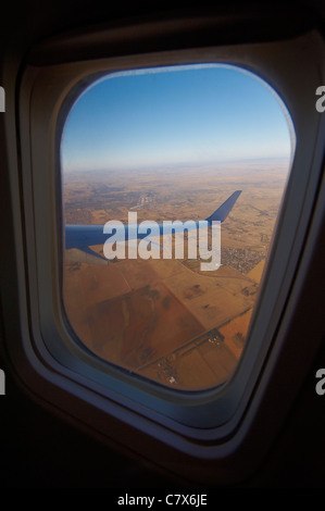 View out of airplane window - Stock Image